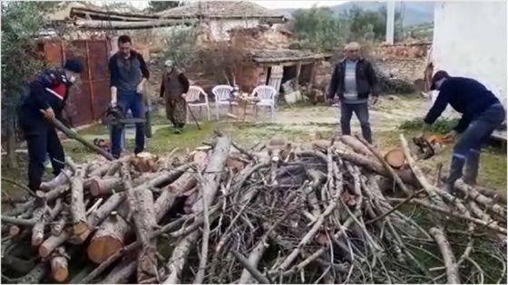 Şehit Annesinin İhtiyaçlarını jandarma karşıladı, yakacak odunda kesti