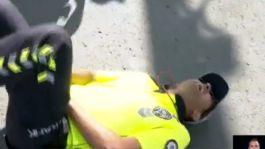 Ankara'da Uygulama yapan Polise saldırı Polis yere yığılıp kaldı