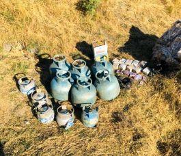 Bitlis'te 11 adet dolu tüp ile Malzemeler ele geçirildi