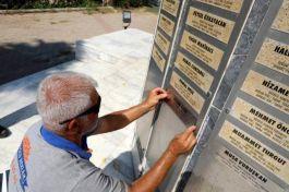 Büyükşehir Şehitler Anıtı'na eksik olan 30 şehidin isim levhasını ekledi