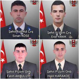 Dün Suriye'de 4 Askerimiz Şehit oldu