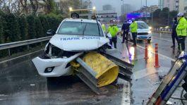 İstanbul'da kaza iki polisimiz yaralandı