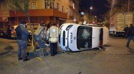 Polis aracı kaza yaptı 2 Polis yaralandı