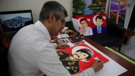 Ressam polis, şehit polis meslektaşlarının portrelerini çiziyor