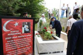 Şehit Cami imamı mezarı başında anıldı