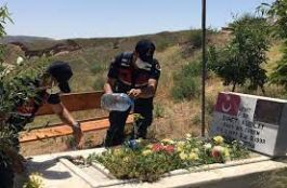 Şehit mezarlarının bakımı jandarma tarafından yapıldı