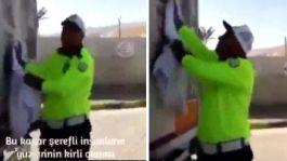 Trafik Polisi Şehitlerin fotoğraflarını elleriyle temizledi(Video)