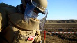 TSK Ömat timleri kurtarılan bölgelerde mayınlı arazileri temizliyor